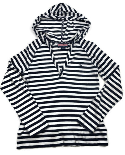 Vineyard Vines Girls Striped V-Neck Hoodie Size Large Blue White