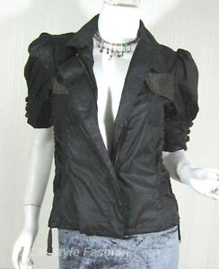 Funky-Zip-Jacket-Fashion-Pocket-Blouse-Top-Black-S