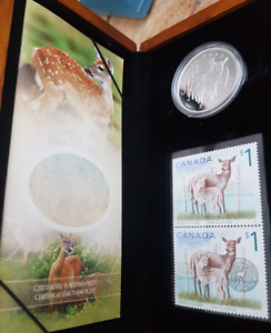 2005 $5 Coin & Stamp - Deer/Fawn