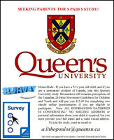 PARENTS, Queen's University will $ PAY $ YOU for your opinion!