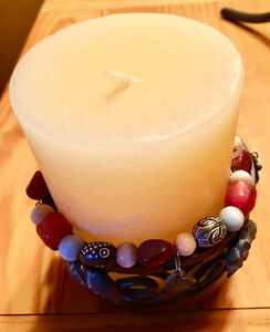 CANDLE WITH BEADED STAND Kitchener / Waterloo Kitchener Area image 2