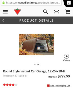 LOWER PRICE. Round instant car garage. 12x24x10 on wood floor