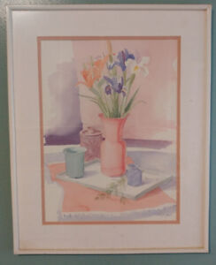 Prints, lovely floral with nice frames and mat  $20