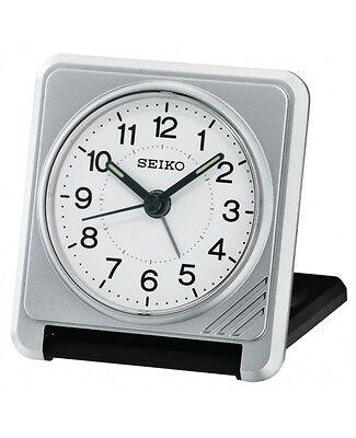 Seiko QHT015S Silver Folding Travel Luminous Hands Snooze Light Beep Alarm Clock