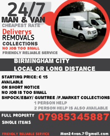 Man with a van base in Birmingham