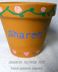 Plant pot, terra cotta, new, hand decorated named SHARON + plant