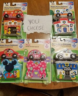 Melissa & Doug Mickey Mouse Clubhouse car-ambulance-fire-police-Minnie Wood set