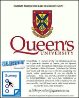 PARENTS, Queen's University will $ PAY $ YOU,  join this study!