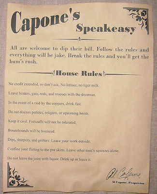 Al Capones Speakeasy House Rules Poster  Bar  Gin Joint  Speak Easy