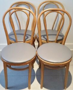 4 BENTWOOD Dining Chairs VINYL WOOD Antique Vintage MODERN
