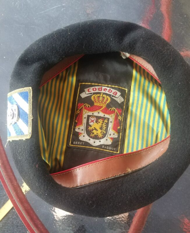 vintage Codeba Beret Basque with miliatry patch and cando pin