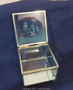 Vintage Beveled Glass Etched Jewelry Box