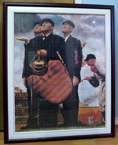 "Large framed Norman Rockwell ""Rain Delay"""