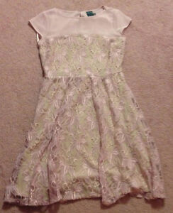 New pink lace flare dress size small