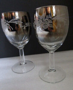 Pair of VINTAGE FRANCE Signed Silver Mercury Fade Goblets *XMAS!
