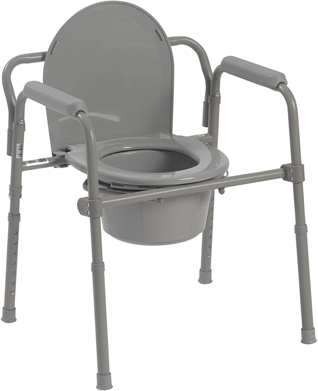 Adult Toilet Seat Folding Bedside Potty Chair Commode Steel