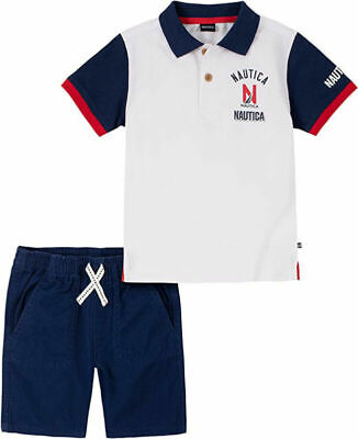 Nautica Boys Rugby Polo 2pc Short Set Size 2T 3T 4T 4 5 6 7