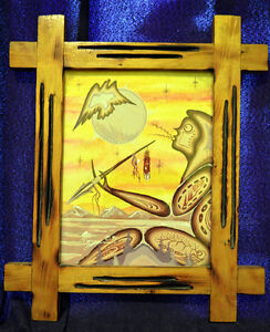 Vintage Native American Painting Signed, Dated, Morgan McGraw