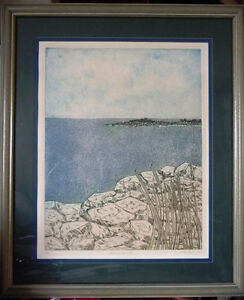 "Original Signed Serigraph by Rita Hurault ""Summer Sea"" 1990's"
