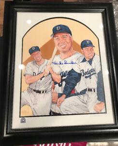 Duke Snider Signed LA Dodgers 16x20 Lithograph Framed
