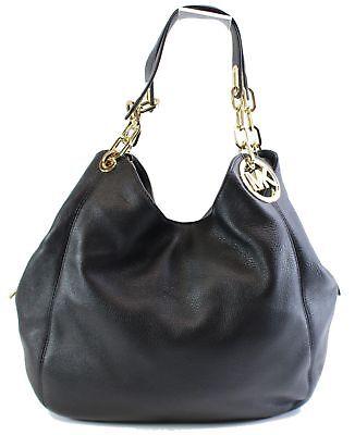 Michael Kors NEW Black Gold Pebbled Leather Large Fulton Shoulder Bag $398- #049