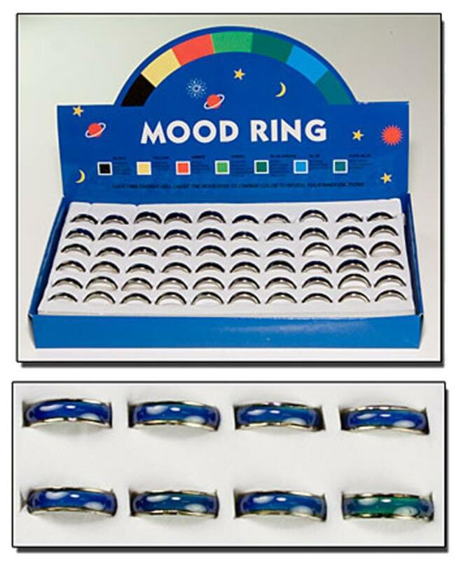 60 PIECES OF CHANGING COLOR MOOD BAND RINGS bulk lot change colors ring DISPLAY