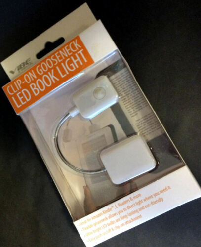 NIB - VIBE Clip on Gooseneck LED Book Light Reading Kindle Tablet  WHT *BOGO 50%