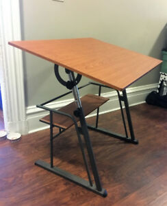 Adjustable Drafting Table - w/ Wood Top & Metal Frame
