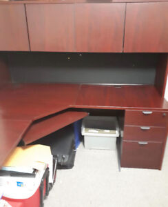L Shaped Office Desk with Hutch and Filing Cabinet