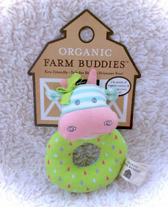 Apple Park ORGANIC Farm Buddies Belle Cow Plush Toy Rattle Ring