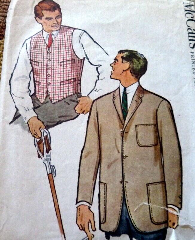 VTG 1950s MENS JACKET & VEST McCALLS Sewing Pattern CHEST 34