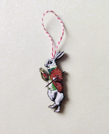 Vintage Retro Christmas Alice in Wonderland White Rabbit Decoration