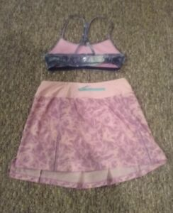 Ivivva Pink Skort  size 14  and pink/blue Exercise bra, size 10