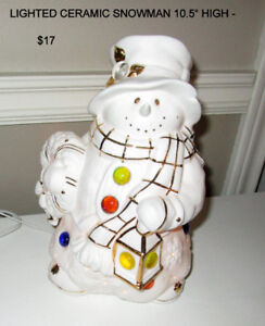 VARIOUS CHRISTMAS ITEMS: DECORATIONS - CANDLES - SNOWMAN.....