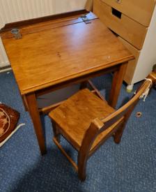 Vintagw school desk and chair