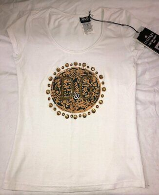 Dolce & Gabbana D&G Glass Beaded Fitted Ladies Logo Tee Size S NWT