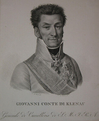c1810 Klenau Johann von General Militär Brünn Kupferstich-Porträt Lancon Jacob