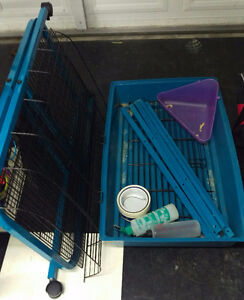 Small pet cage and accessories