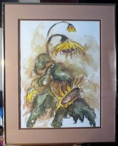 Sunflower Study, Original Watercolor by D.  R. Hall, 1970's