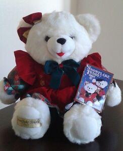 1997   White Christmas Snowflake Teddy Bear 22 pouces
