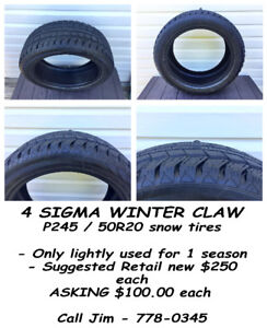 Sigma Winter Claw tires x 4