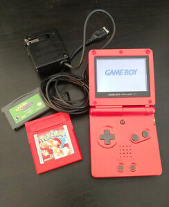 Red Nintendo GBA SP + Pokemon Red and more!