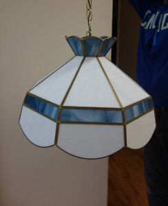 Blue & White Stained Glass Chandelier