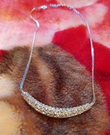 Trifari vintage silver shade evening necklace