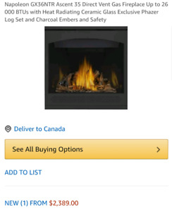 Napoleoan fireplace Natural Gas
