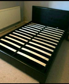 Black brown faux leather double bedframe
