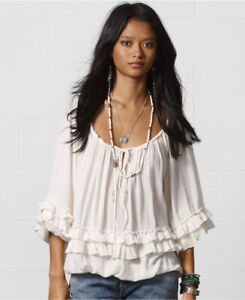 Ralph Lauren Denim Supply 100% Cotton Ruffled Boho Shirt