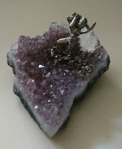 Amethyst Agate Geode With Pewter Miniature Gold Miner Figurine