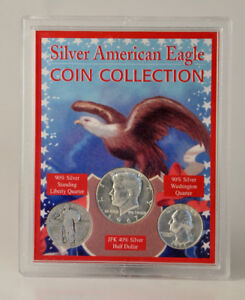 Silver American Eagle Coin Collection - 3 coins in holder