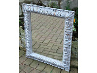 Mirror in French Painted Ornate Frame in Grey